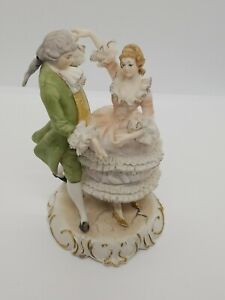 Vintage Dresden Porcelain Lace Figurines Of A Man Woman Dancing Extremely Rare
