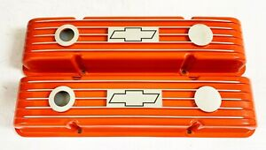 Small Block Chevy Valve Covers Orange W Chevrolet Bowtie Logo Classic Styling