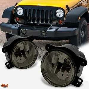 For 07 18 Jeep Wrangler Oe Style Smoked Lens Front Bumper Driving Fog Light lamp