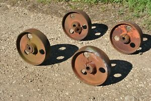 Vintage Antique Fairbanks Cast Wheels Hit Miss Gas Engine Steam Industrial Cart