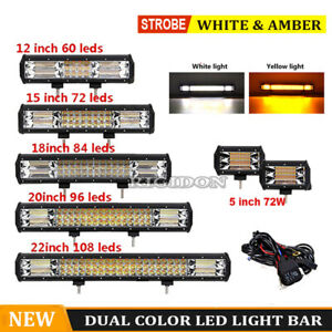 14 23in Dual Color Strobe Led Light Bar Offroad Suv Flash Driving Lamp Warning