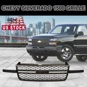 For 2005 2006 Chevy Silverado 1500 Grille Front Hood Mesh Grill Grille Abs Black