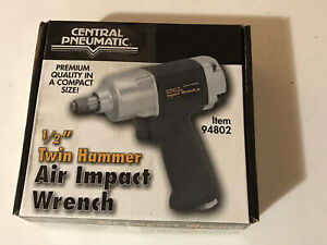 Central Pneumatic 94802 1 2 Twin Hammer Air Impact Wrench With Box