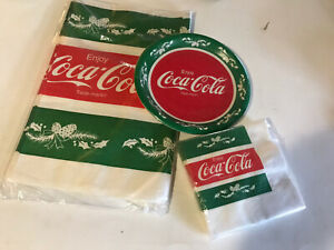 Coca Cola Vintage New 8 Paper Plates And 16 Napkins And Tablecloth 52 In X 96 In