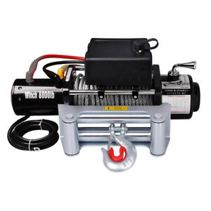 8000lb 5 5hp 12v Electric Recovery Winch Truck Suv Wireless Remote W Gloves