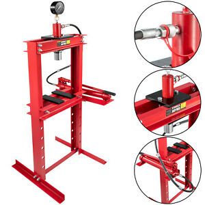 Hydraulic Shop Press Floor Shop Equipment 12ton Jack Stand With Hand Pump Gauge