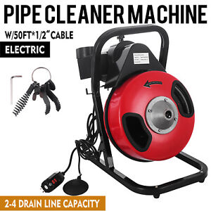 Commercial Sewer Snake Drain Cleaner Auger 50 Ft Long 1 2 W 4 Different Heads