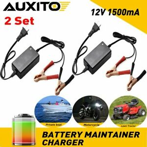 2 Set Car Motorcycle Battery Charger Auto Float Trickle Maintainer Dc 12v 1 5a