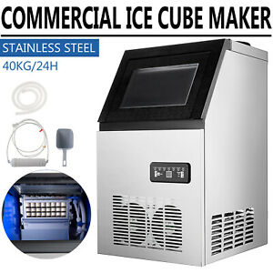Commercial Ice Maker 90lb Ice Cube Making Machine Stainless Steel Bar Restaurant