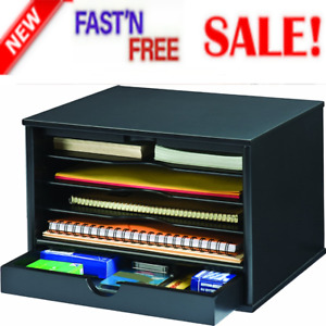 Organizer Desktop 4 Shelf Closing Door Office Desk Color Wood Midnight Black