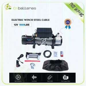9500lb 12v Electric Recovery Winch Kit W Steel Cable remote Off road W cover