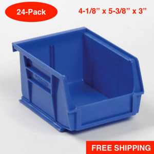24 pack Blue Plastic Storage Stacking Hanging Bin Small Parts Label Holder Wall
