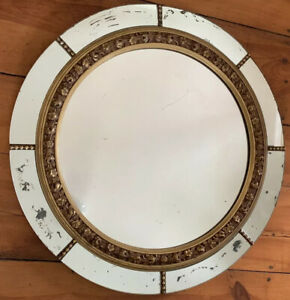 Vintage Art Deco Nurre Co 34 Round Plate Glass Gold Gesso Wall Mirror Antique