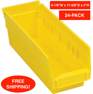 24 pack Yellow Plastic Nestable Shelf Bin Waterproof Shelving Label Holder Parts