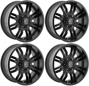 18x9 Panther Off Road 580 5x5 5x5 5 0 Black Wheels Rims Set 4