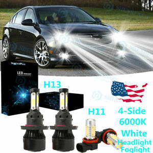 For Chevy Cruze 2011 2013 2014 15 Led Headlight Hi Lo Fog Light Bulbs Combo 4x