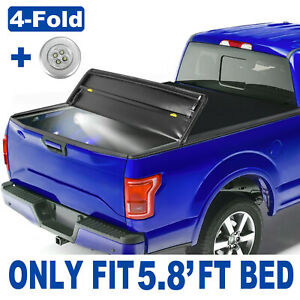 4 fold Tonneau Cover For Chevy Silverado Gmc Sierra 1500 On Top 5 8ft Bed Truck