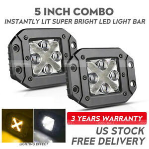 5 160w Flush Mount Backup Reverse Rear Front Bumper Led Lights Pods Offroad 12v