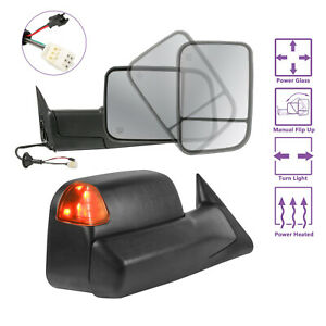 Lh rh Towing Mirrors Power Heated Led Signal Lights For 98 02 Dodge Ram1500 2500