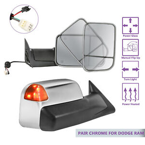 Pair Towing Mirrors Power Heated Led Signal Lights For 98 02 Dodge Ram Chrome