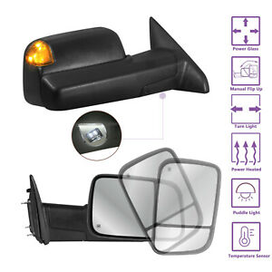 Power Heated Puddle Light Towing Mirrors Set For 09 18 Dodge Ram 1500 2500 3500
