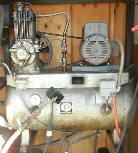 Quincy 216 Dual Air Compressor Setup With Tank And Controls Excellent Shape