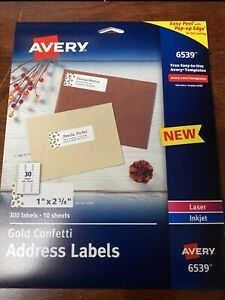 New Avery 6539 Gold Confetti Return Address Labels 300 Labels 10 Sheets