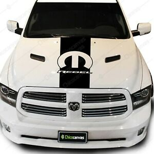 Dodge Ram Rebel Mopar Logo Pickup Truck Hood Decal Racing Vinyl Stripes Sticker
