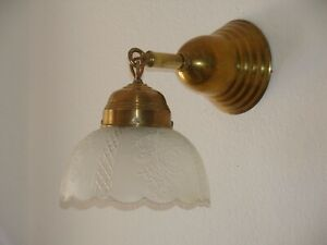 Wall Sconce All Brass Rewired Heavy Frosted Shade No 1