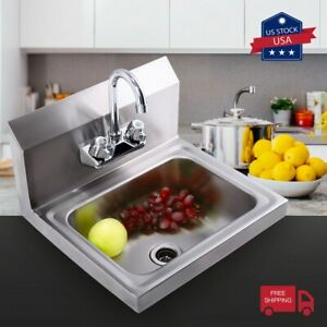 Commercial Stainless Steel Wall Mounted Nsf Hand Sink W faucet Heavyduty Kitchen