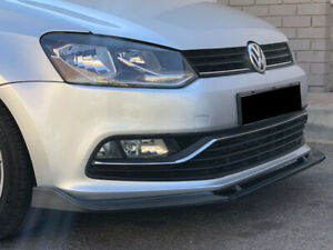 Volkswagen Vw Polo 6r Gloss Black Front Bumper Lip 3 Piece Lip