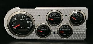 1948 1949 1950 Ford Truck 5 Gauge Gps Dash Insert Engine Turned Black