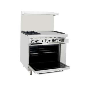 Atosa Ato 2b24g 36 Cookrite Gas Restaurant Range With 2 Burners And 24 Griddle