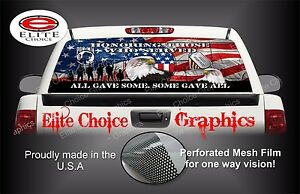 Litary Honor Vets Patriotic Flag Rear Window Graphic Decal Sticker Truck Suv