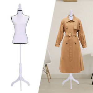 Female Mannequin Torso Dress Clothing Form Display W tripod Stand White New