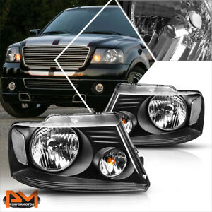 For 04 08 Ford F150 Pickup Black Housing Headlight Clear Side Corner Lamps Pair