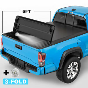 Tri Fold 6ft Truck Bed Tonneau Cover For 2005 2015 Toyota Tacoma On Top W Lamp