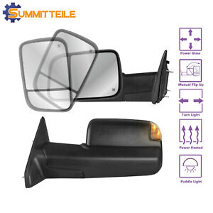 Power Heated Towing Mirrors Signal W Puddle Lights For 10 12 Dodge Ram 2500