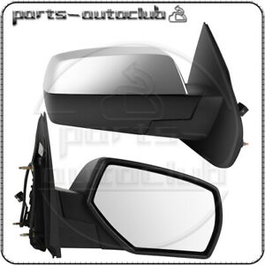 Power Heated Left Right Side Mirrors Chrome Smooth For 2015 18 Chevy Silverado