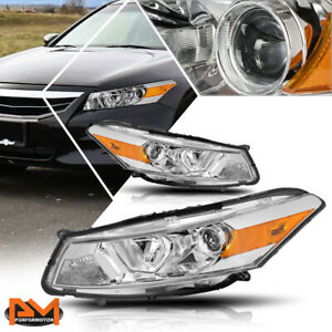 For 08 12 Honda Accord Coupe Projector Headlight lamp Chrome Housing Amber Side