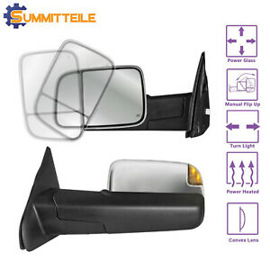 L r Chrome Power Heated Glass Towing Mirrors Signal For Dodge Ram 1500 2500 3500