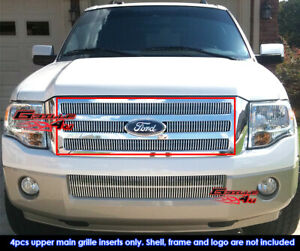 Fits 2007 2014 Ford Expedition Main Upper Chrome Vertical Billet Grille Insert