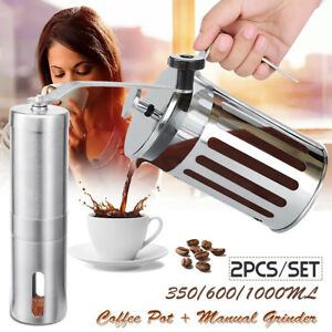 Manual Coffee Grinder Stainless Steel Hand Crank + French Press Filter Pot  $39.28