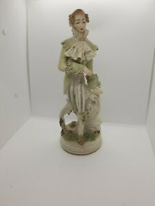 Vintage 13 Dresden Porcelain Semi Lace Figurine Woman Posing Extremely Rare
