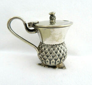 Antique Figural Thistle Silverplate Mustard Pot