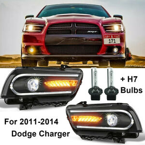 1 Pair Headlight For Dodge Charger 2011 2014 With Drl Led Sequential Turn Signal