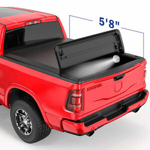 4 Fold 5 8ft Soft Truck Bed Tonneau Cover For Ram 1500 2500 3500 no Ram Box