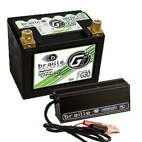 Braille Auto Battery Lithium 12 Volt Battery Green Lite W Charger Pn G30c