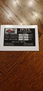 Genuine Eelco 4 1 2 Fuel Tank Data Decal Gasser Fit Moon Official Reproduction