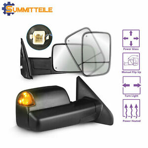 Power Heated Towing Mirrors W Led Turn Signal For 03 08 Dodge Ram 1500 2500 3500